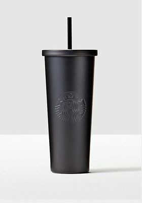Starbucks Cold Cup Matte Black RARE Stainless Steel Tumbler 24 oz