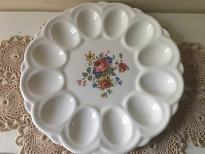 "1~Vintage Deviled Egg Plate~12 Eggs Shabby Chic Country Cottage 9"" USA Tray Mint"