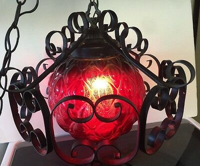 Vintage Red Hanging Glass SWAG LAMP Light Ceiling Mid Century Art Mood Goth