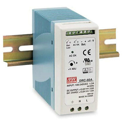 Mean Well DRC-60A DIN Rail Switching Power Supply 13.8 Volts 2.8/1.5 Amps 60 Wat