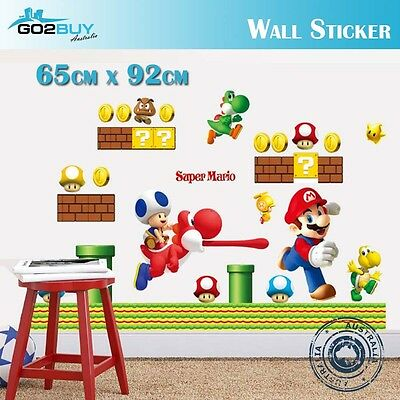 DIY Wall Stickers Removable Super Mario Game Kids Mural Room Decal Gift Vinyl