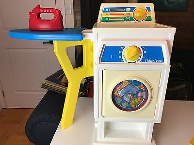 Fisher Price 1990 LAUNDRY CENTER Toy Washing Machine/Dryer Iron Clothes