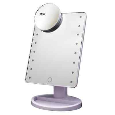 Touch Screen 16 LED Lighted Makeup Mirror with Removable 10x Magnifying Mirrors