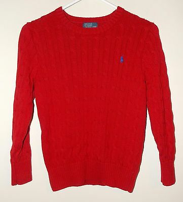 Boy's Polo Ralph Lauren Cable Knit Sweater Red Medium (10-12) 100% Cotton