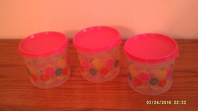 New Tupperware Flower Fiesta 3 Pc. Canister Set With Pretty Pink Lids
