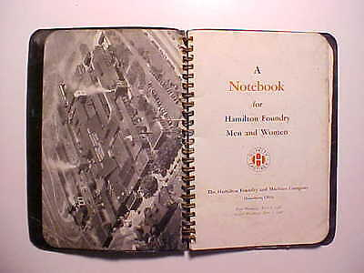 1948 HAMILTON FOUNDRY HAMILTON OHIO NOTEBOOK BELONGED TO TIME KEEPER 48 pages VG