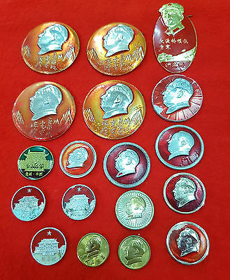 Chinese Mao Tse-Tung Memorabilia Collection Of Badges Lot Of 18