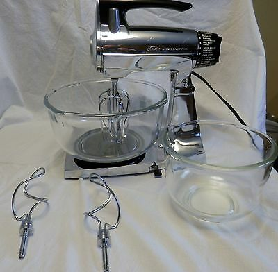 Vintage Sunbeam Mixmaster Chrome Mixer 12, Bowls, Beaters and Dough Hooks