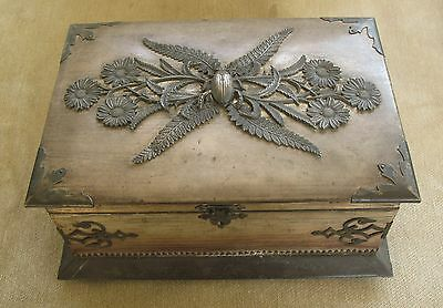 Fabulous Victorian Antique Sewing Jewelry Box Bug Scarab Metal Silk Lining