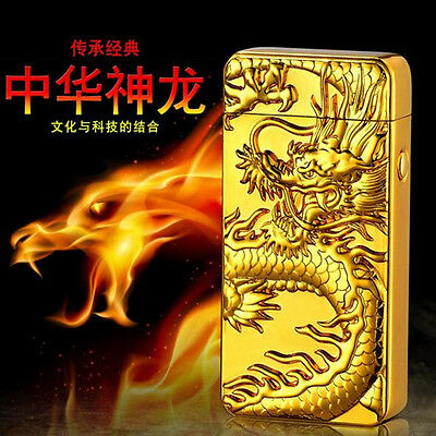Chinese Dragon Electric Dual Arc Flameless Rechargeable Windproof Lighter