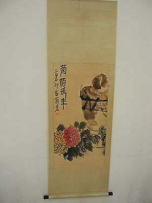 Excellent old Chinese Scroll Painting By Qi Baishi: wine pot Y007