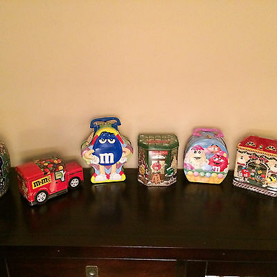 M & M Assortment of Candy Tins Lot of 5
