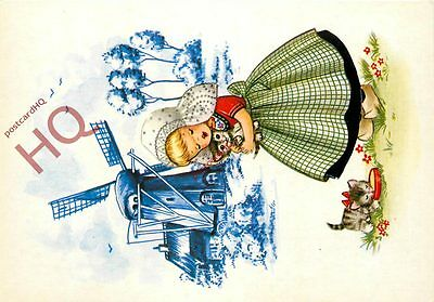 Postcard: Holland, Girl With A Kiten By A Windmill