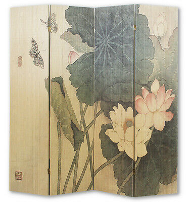 4 Panel Bamboo Lotus Flower Screen / Room Divider
