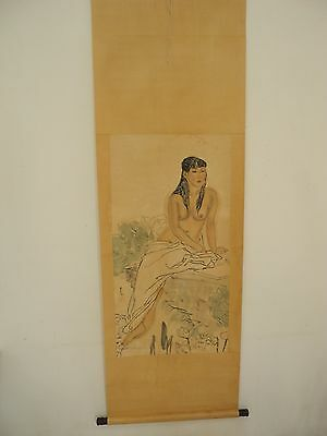 Excellent old Chinese Scroll Painting By Lin fengmian:lady Y027