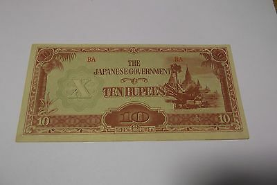 The Japanese Government 10 Rupees Note Wwii Emergency Money