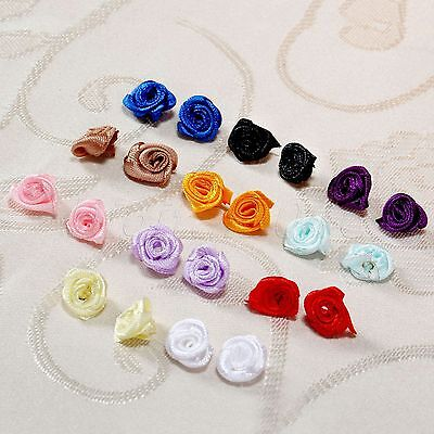 100 Assorted Colours Satin Ribbon Roses Flowers Wedding Home Décor Sew Craft Diy