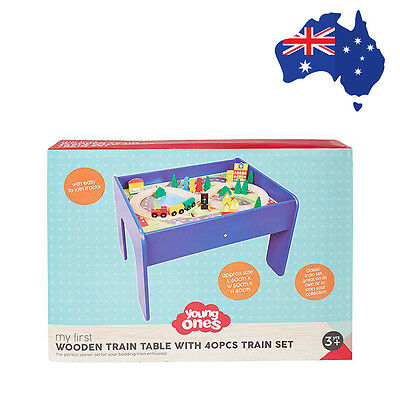 Young Ones My First Wooden Train Table Set Educational Toy for Kids New