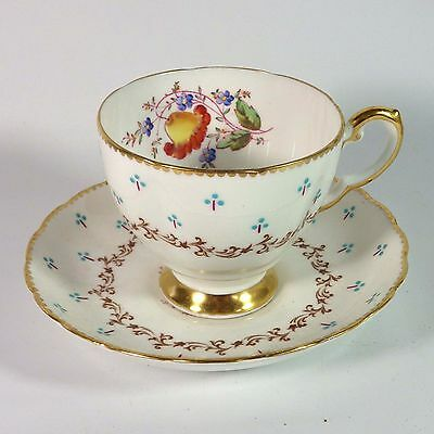 Tuscan Plant English China Floral Garland Pattern Gilt Teat Cup Saucer C7966