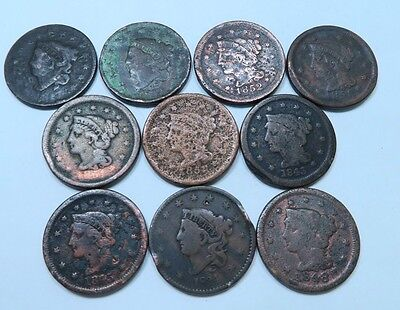 (10) Coronet Head + Braided Hair Large Cent Lot // 10 Coins // (LCL18)