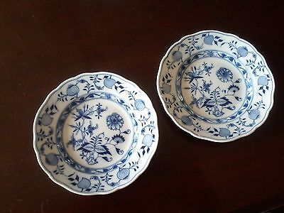 """2 Meissen, First Quality Crossed Swords, Blue Onion 6"""" Plates."""