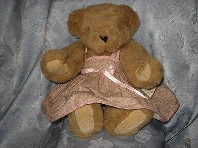 """vintage Vermont Teddy Bear, 1994, 16"""", jointed, paw pads, w/tags, pink dress"""