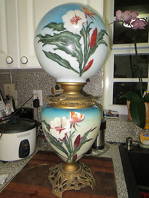 Rare Antique Victorian Hand Painted GWTW Oil Banquet Lamp Success PLB&Co.