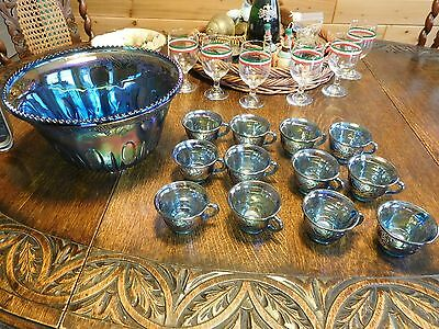 Vintage Blue Carnival Glass Punch Bowl & 12 Cups Grapes Leaves Iridescent Nice