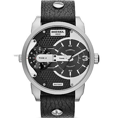 NEW Authentic DIESEL Mens MINI DADDY Leather Band Dual Time Zone Watch DZ7307