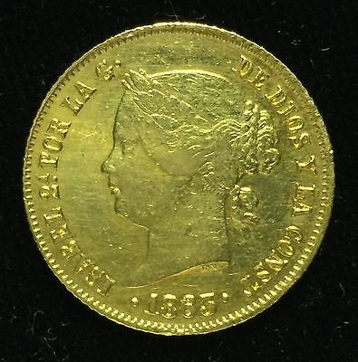 1863 Isabel 4 Pesos Spain-Philippines Gold Coin
