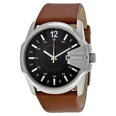NEW Authentic Diesel Master Chief Brown Leather Black Dial Men's Watch DZ1617