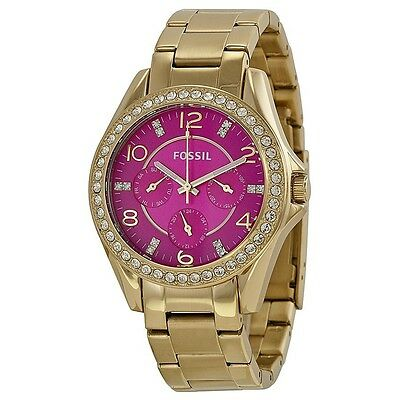 NEW Authentic FOSSIL Riley Women's Gold Tone Stainless Steel Watch ES3507