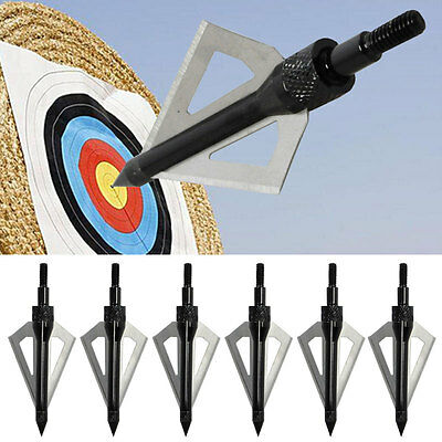 6× archery Black broadheads 3blade 100grain for recurve compound bow hunting
