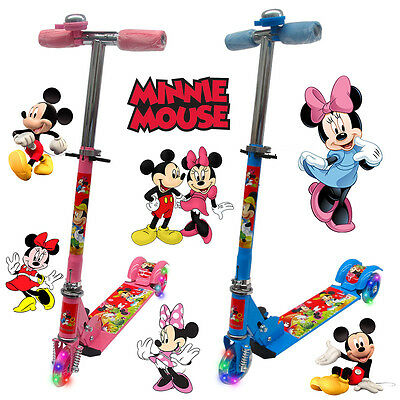 Mickey & Minnie Foldable Scooter Kid Child Push Kick 3 Wheel Car Ride On Toy