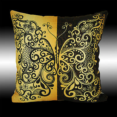 """Vintage Black Yellow Butterfly Tapestry Deco Cushion Cover Throw Pillow Case 17"""""""