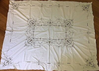 Large Cotton TABLE CLOTH Embroidered with Madeira Cutwork Grey / White