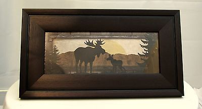 Framed Print Of Moose - Father And Calf 13 X 8