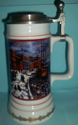 """MILLER """"WATERFRONT HOLIDAY'S"""" PORCELAIN STEIN w/ PEWTER LID HOLIDAY COLLECTION"""