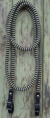 Black Leather SS Buckled End Reins in Black & Beige Zig Zag  choice of length