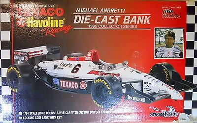 1995 Racing Michael Andretti Texaco Havoline 1:24 Indy Car Diecast Bank with box