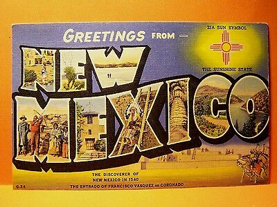 New Mexico~Greetings From New Mexico 1946 stamped Postcard