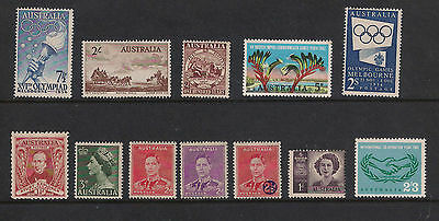 Australian Pre Decimal Collection - 12 Stamps - Mint Hinged