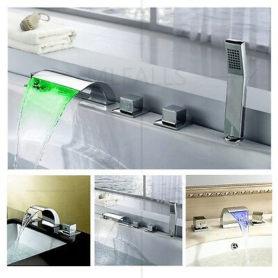 Bathroom Sink Waterfall Faucet Tap Deck Mounted Brass Chrome New Contemporary