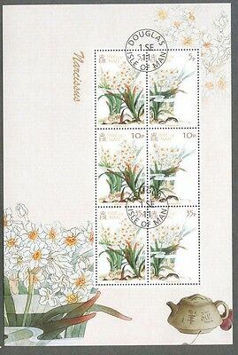Isle of Man-Narcissus min sheet Flowers-fine used cto