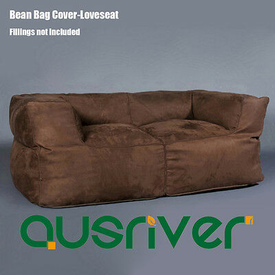 Luxury 2 Person Sofa Couch Bean Bag Cover Indoor Loveseat Lazy Seat Chair Brown