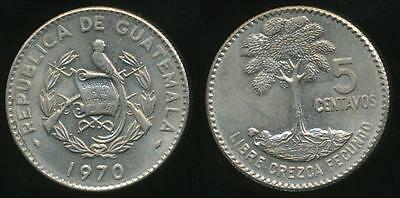 Guatemala, Republic, 1970 5 Centavos (Large date) - Uncirculated