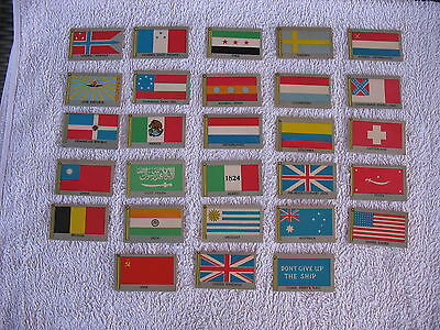 28 VINTAGE LITHO FLAGS of The WORLD TRADING CARDS