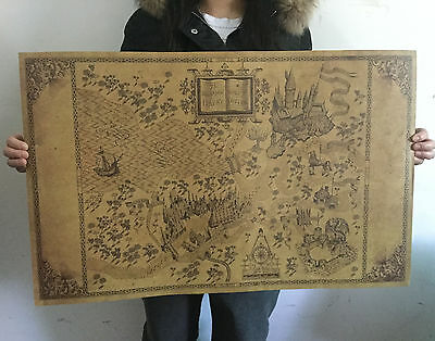Retro Harry Potter Magic Old World Map Brown kraft Paper Wizarding Poster 72x46c
