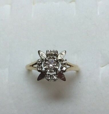 1/4 Ct Antique Natural (REAL )  DIAMOND Ladies Flower RING Solid 14K Yellow gold