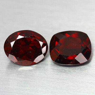 7.14 Ct RARE AMAZING 100% NATURAL TOP RARE RED GARNET UNHEATED GEM 2-PCS !!!